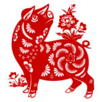 To celebrate the Chinese New Year with red papercut in the Year of the Pig 2019, according to Chinese zodiac system.